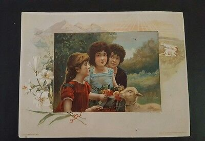 Beautiful Easter Greeting Lion Coffee Woolson Spice Co Trade Card Advertising