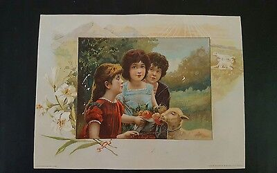 Beautiful1891  Easter Greeting Lion Coffee Woolson Spice Co Trade Card
