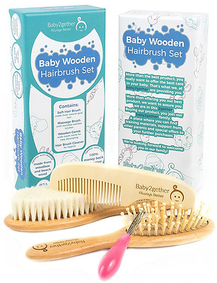 Natural Wooden Baby Hair Brush and Comb Set for Newborn Hair Brush Registry and.