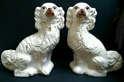 Large Antique Pair of Staffordshire Spaniels c.1860