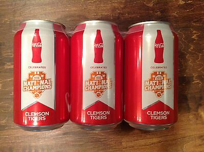 6 Pack - Clemson National Championship 2016 Coca-Cola Cans Limited Edition