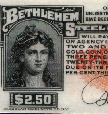 Xxx-Rare Lg Orig 1904 Bethlehem Steel Bond Coupon Payable In Gold! Our Exclusive