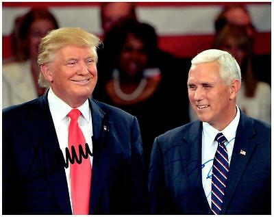Donald Trump Mike Pence autographed signed 8x10 Photo Picture pic + COA