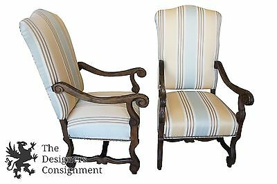 2 Over-Sized French Country Carved Mahogany Arm Chairs Club Designer Palm Tree