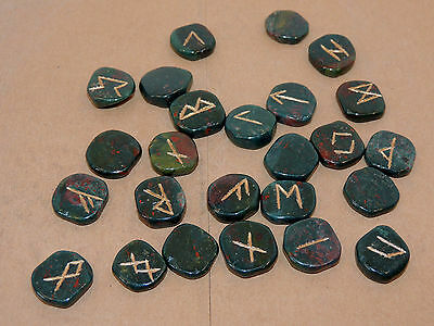 Bloodstone Engraved Rune Stone Set with Runic Symbols Chart and Cloth Bag