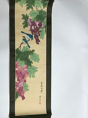 Vintage Chinese ink and watercolor on silk Scroll Painting with calligraphy