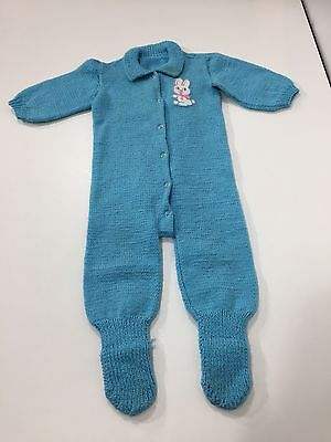 Vintage 1950s 60s Hand Knit Blue Toddler Sleeper Footie Pajamas Snap Front Bunny