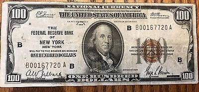 1929 $100 Bill National Note Federal Reserve Of New York