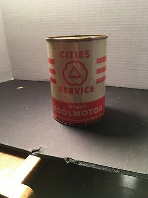 Vintage Cities Service Premium Koolmotor Motor Oil Can - Gas Station Advertising