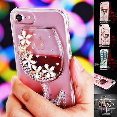 Bling Pink Lips Diamond Crystal Liquid Wine Glass Clear Case Cover for iphone 7