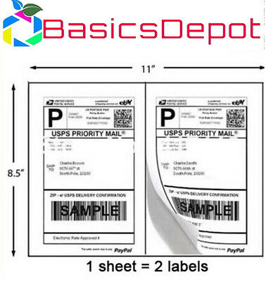 SHIPPING Labels Laser / Ink Jet USPS - 8.5 x 5.5 5126X HALF-SHEET BD200