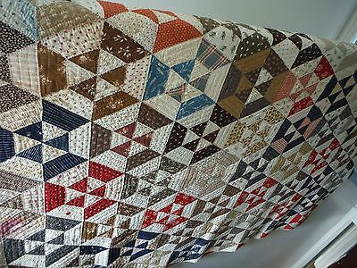 Antique 1800's Quilt - old colors/fabrics, unusual hexagon triangle web pattern