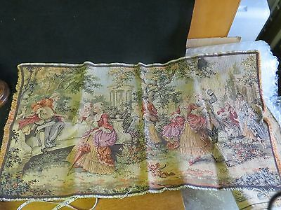 antique or vintage tapestry-  34x18 inches victorian park scene