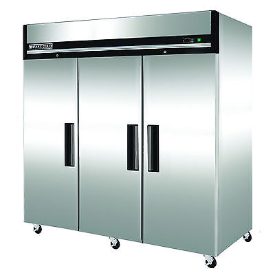 "Maxx Cold MXCF-72FDX 81"" Three Door Upright Commercial NSF Reach-In Freezer 72cf"