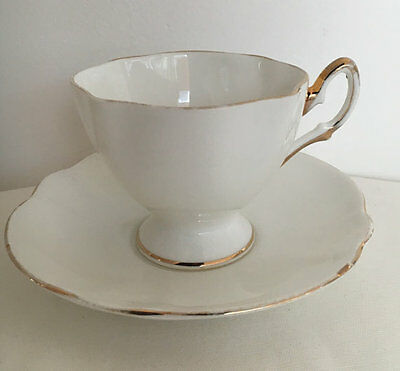 Salisbury China Vintage White Gold Teacup Duo Teaset