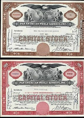 2 Early Pan American World Airways, Inc. 1Both 1959, 1 Red + 1 Brown Stock Cfts.