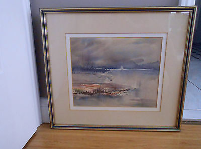 Original Signed Framed Watercolour Painting 'A Lone Sail' by Beth Burgess
