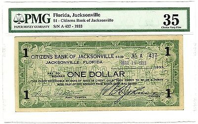 FLORIDA Depression SCRIP SCARCE TYPECitizens Bank of JACKSONVILLE  $1  Choice VF