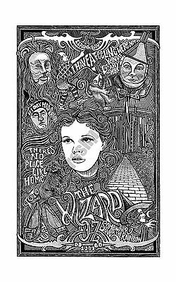 """THE WIZARD OF OZ 11"""" x 17"""" Art Print Poster Detailed Pen & Original HAND DRAWING"""