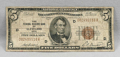$5 1929 National Currency Federal Reserve Bank Of Cleveland Note!