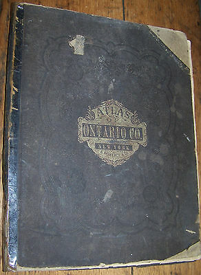 1874 Antique Ontario County Ny Atlas Canandaigua Geneva Naples Victor Phelps+