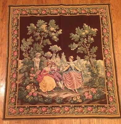"""Antique Wall Hanging tapestry French Garden Party Flute Dancing  46.5 X 50.5"""""""