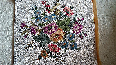 Antique Bead Needlepoint Square Flower Picture Beaded Handwork