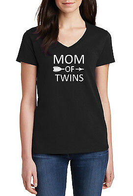 d536bb98f28b9 V-neck Mom Of Twins Shirt Mother's Day Gift Mama Tee Women Ladies T-