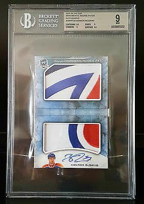 CONNOR McDAVID 2015-16 UD The Cup Monumental ROOKIE AUTO Patch OIL DROP 6/6 POP1