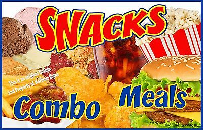 """Snacks Combo Meals Decal 24"""" Concession Cart Food Truck Restaurant Vending"""