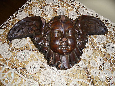 Antique Carved Wood Winged Cherub Putti Wall Plaque
