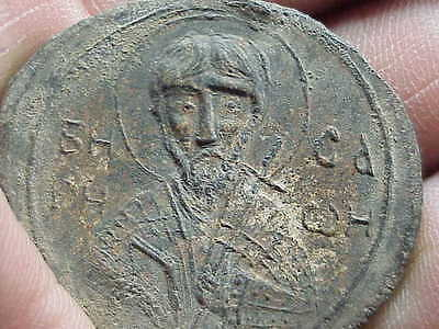 #438 Ancient Papal Lead Seal Bulla 1000 A.d. Byzantine Relic St. Image Knights T