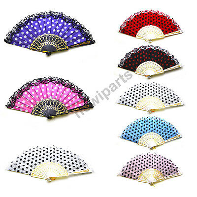 12pcs Hand Fan Chinese Fabric Embroidery Spot dot Summer GIFT US Seller