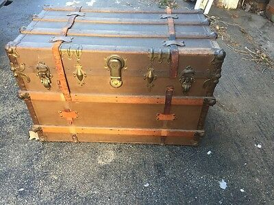 ANTIQUE STEAMER TRUNK VINTAGE VICTORIAN FLAT TOP RUSTIC WOODEN With Insert