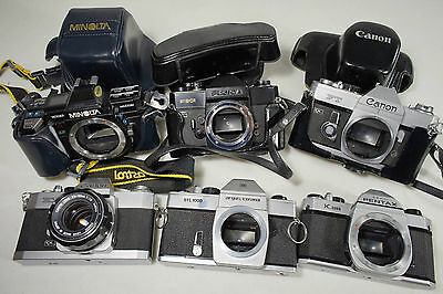 Lot of vintage cameras, M42, K, and FD mounts, AS IS for parts or repair