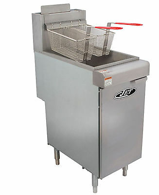 Commercial 40lb 3 Tube Floor Gas Deep Fryer 90,000BTU/Hr NAT GAS - JET JFF3-40N