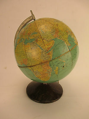 "Vintage Rand McNally 10"" WORLD GLOBE with Metal Base & Meridian"