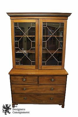 18th Century George III Mahogany Step Back Bookcase China Hutch Cabinet England