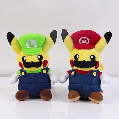 2pcs Pokemon Pikachu Plush Super Mario Luigi Doll Figure Soft Toy Gift US Ship