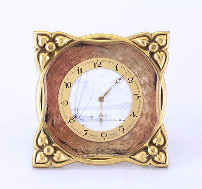 Beautiful Early Art Deco Swiss 8 Day Hand Painted Dial, Enamel, Brass Desk Clock