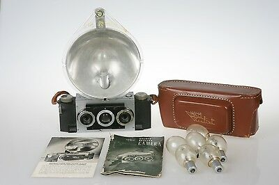 David White Stereo Realist Camera Flash ST 506 Case Bulbs  Instructions TESTED