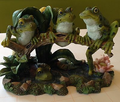 Frogs On A Log In A Pond Collectible Figurine