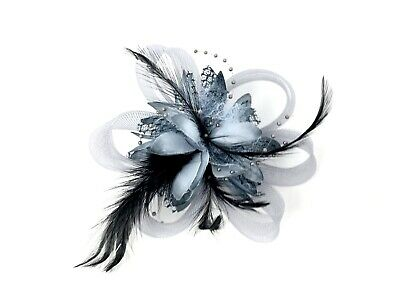 Grey Feather Fascinator Hair Clip Ladies Day Races Party Wedding