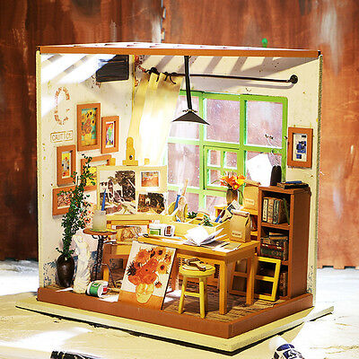 DIY Wooden House Art Studio 3D Dollhouse With Furniture Kits Light Creative Gift