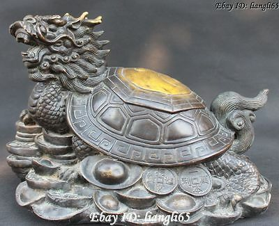"14""Old Chinese Bronze Gild Sea Dragon Turtle Tortoise longevity Wealth Fu Statue"
