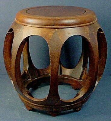 Vintage Chinese Traditional Ming Style Rosewood Barrel Shaped Low Pumpkin Stool
