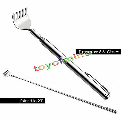 New Stainless Steel Telescopic Portable Pen Clip Back Scratcher Relieve Itching