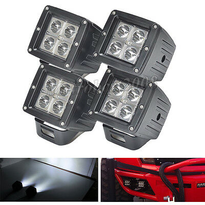 4X 3 inch CREE LED Work Light Square Spot Cube Pods Offroad Jeep Fog Truck Motor