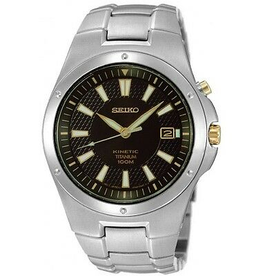 Seiko Kinetic SKA399 P1 Silver Black Dial Titanium Men's Automatic Dress Watch