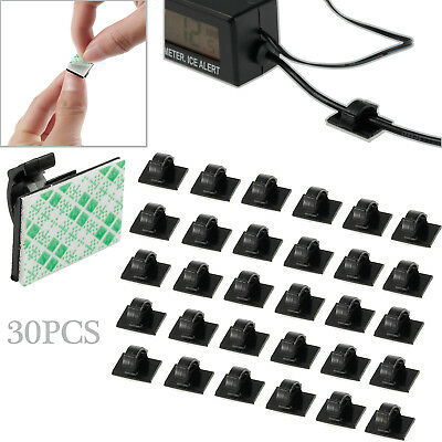 30PCS Mini Self Adhesive Car Wire Clips Rectangle Tie Sticker Cable Cord Holder